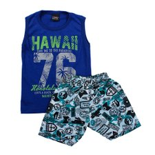 Conjunto Infantil Regata Tropical + Short Estampado Azul Escuro