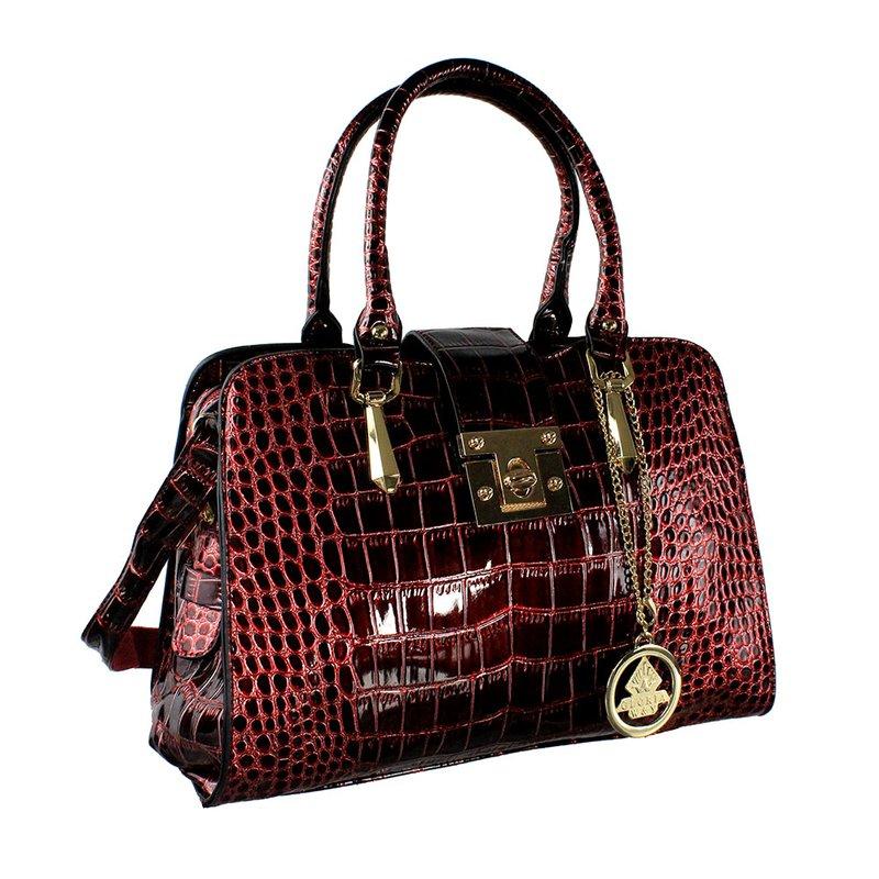 ec40dd2f4 Bolsa Feminina Vermelha De Verniz Animal Print Com Pingente - Compre Agora  - Feira da Madrugada SP
