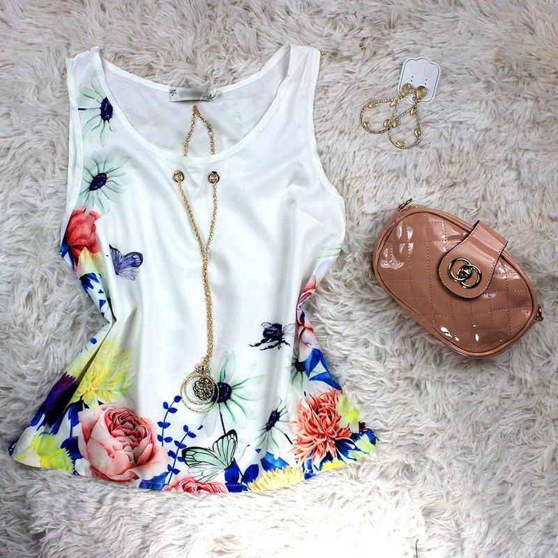 Blusa Regata Com Pingente Floral Feminina - Compre Agora - Feira da ... 9806e0ca4e6
