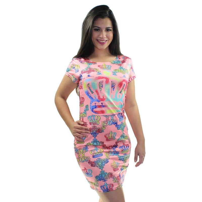 7db18b523 Vestido Estampa Colorida De Coroa Feminino - Compre Agora - Feira da ...