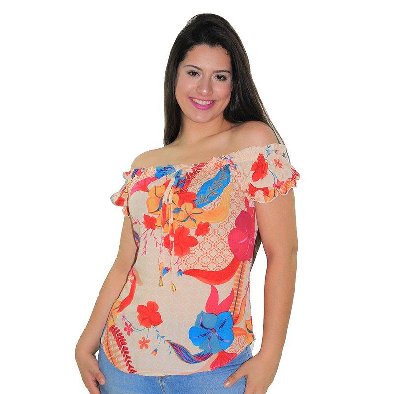 b90c8304b0 Blusa Ciganinha Feminina Floral Com Amarração Manga Curta - Compre Agora -  Feira da Madrugada SP