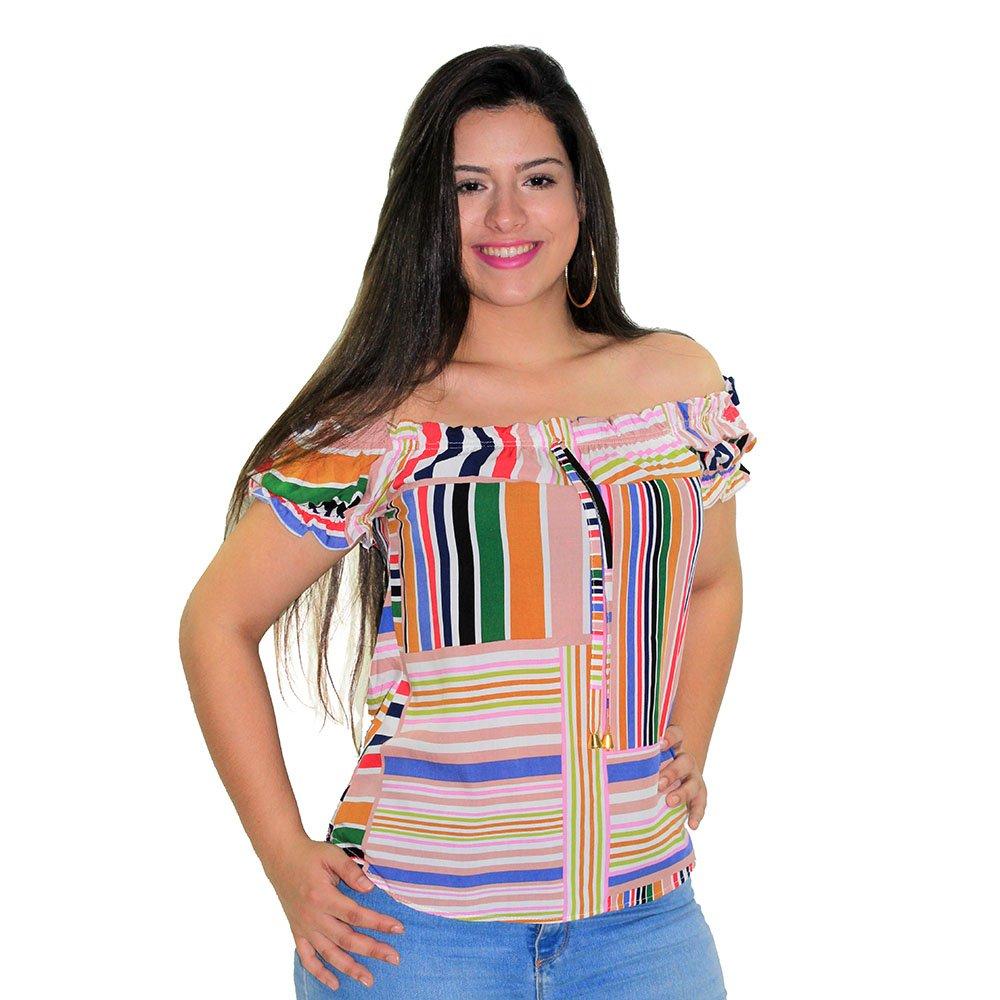 e334523c5bf15 Blusa Cropped Feminina Floral Com Amarração Traseira - Compre Agora - Feira  da Madrugada SP