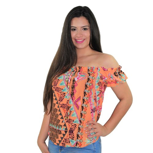 e766ae6c7d Blusa Ciganinha Feminina Listrada Com Amarração Manga Curta - Compre ...
