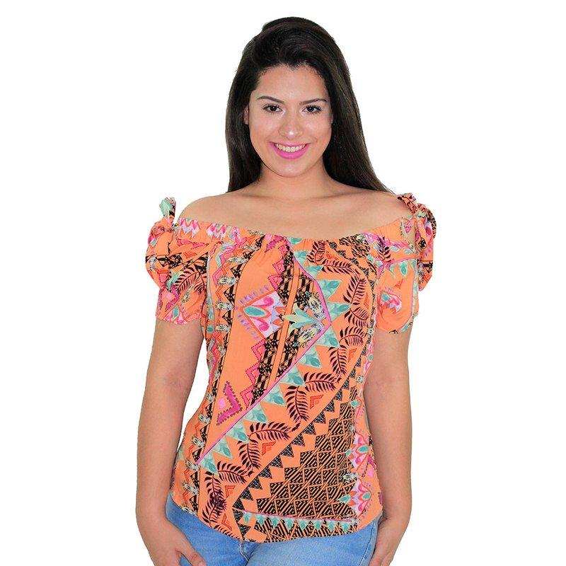 6ca70eb55 Blusa Ciganinha Feminina Floral Com Amarração - Compre Agora - Feira da  Madrugada SP