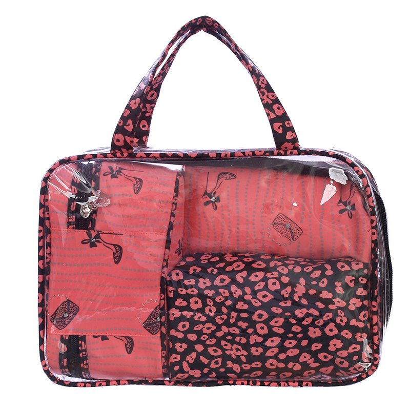 6494805d0 Kit Bolsa Transparente + 3 Necessaire Estampa Rosa Pastel - Compre Agora -  Feira da Madrugada SP
