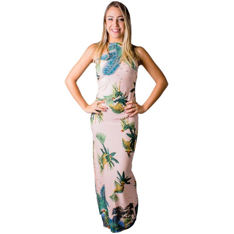 5dec9962ca Vestido Longo Floral Frente Única Cava Americana - Compre Agora - Feira da Madrugada  SP