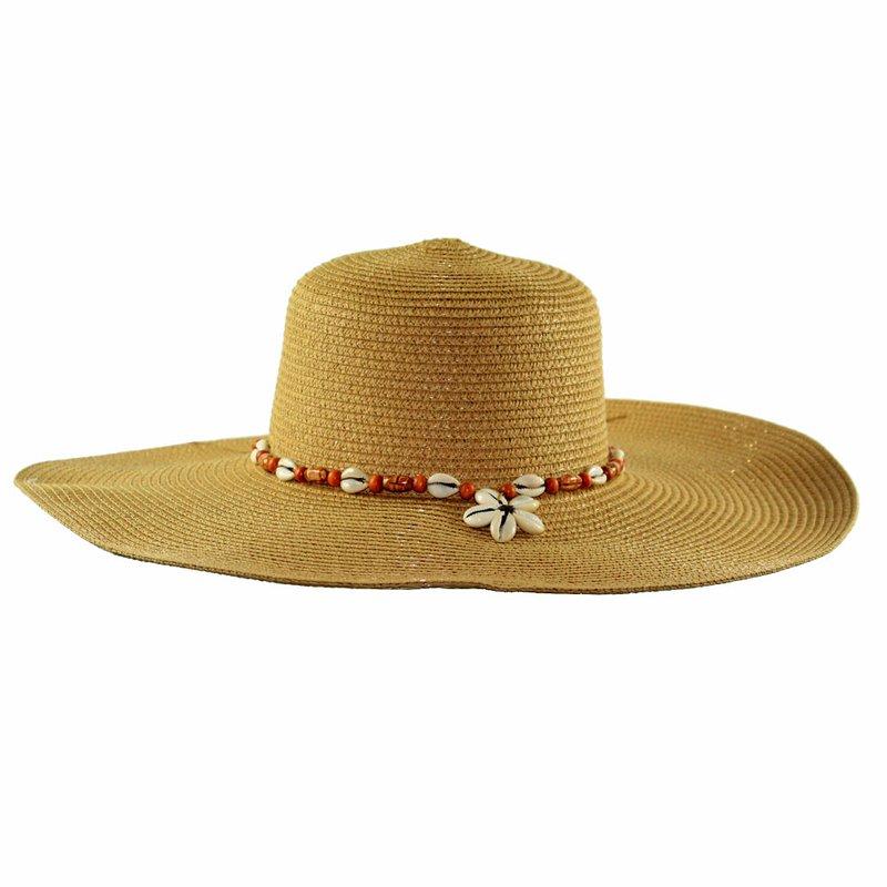 Chapéu Floppy Feminino Praia Com Fita Decorativa De Conchas - Compre ... 2399f5d20e0