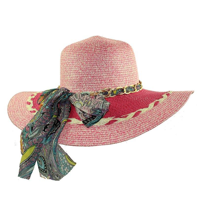 Chapéu Floppy Praia Feminino Bicolor Com Fita Floral Metálica - Compre Agora  - Feira da Madrugada SP b4cf5374565