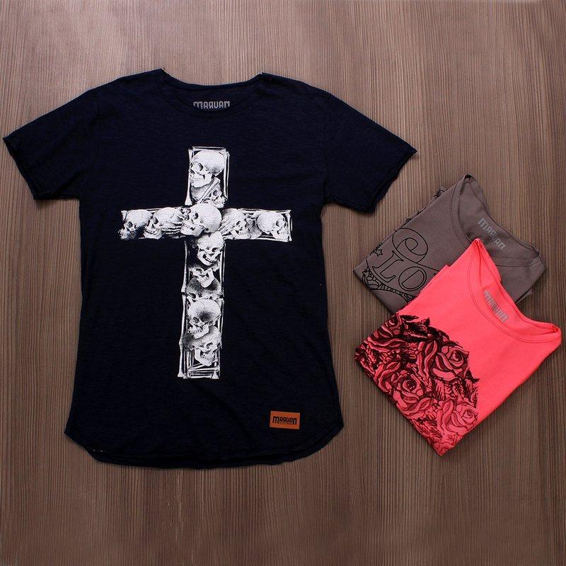 b2540f05a1be Kit 3 Camisetas T-Shirt Masculina Com Estampas De Caveira - Compre Agora -  Feira da Madrugada SP