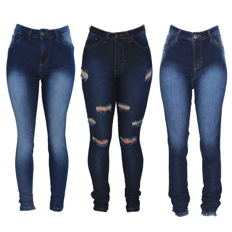 e44513af00 Kit 3 Calças Jeans Feminina Skinny Modelos Diversos - Compre Agora - Feira  da Madrugada SP