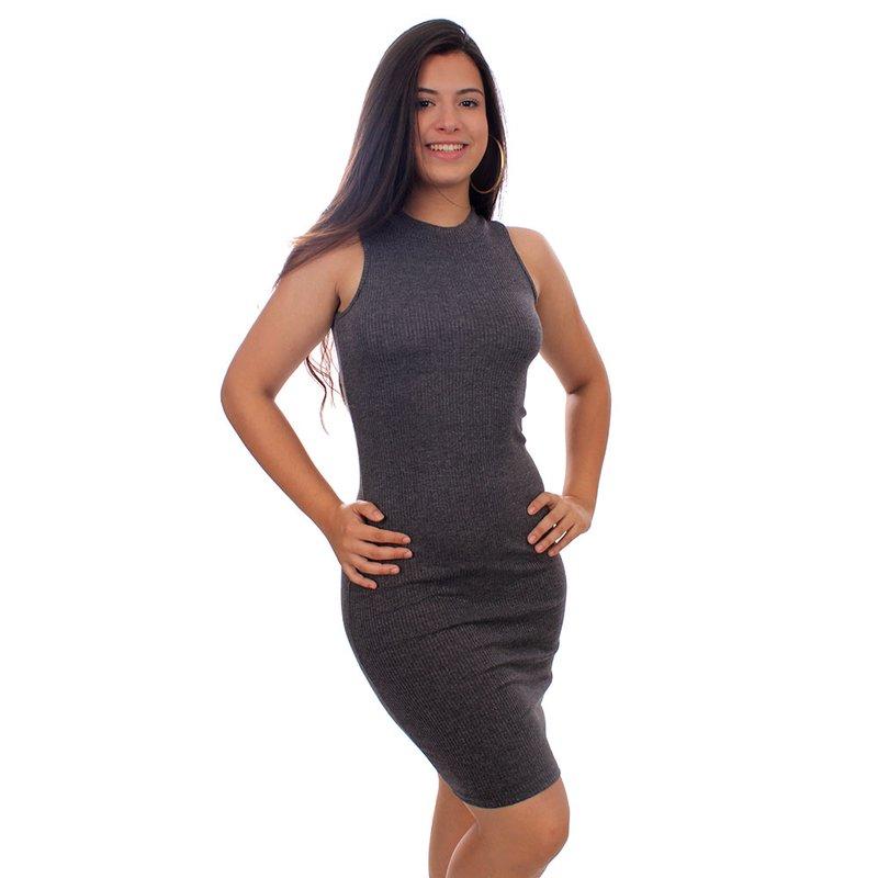 Vestido Canelado Gola Alta Sem Manga Compre Agora Feira