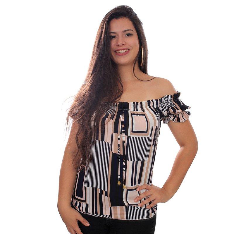 6d33d5abe Blusa Ciganinha Listrada Decote Ombro A Ombro - Compre Agora - Feira da  Madrugada SP