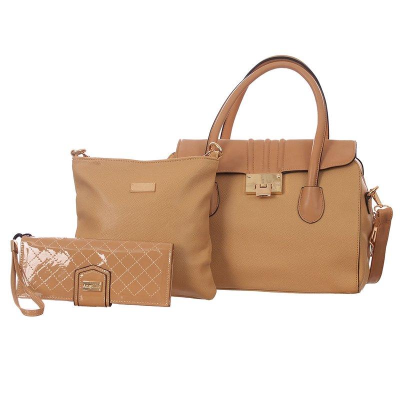 58f4651ad Kit Feminino Bolsa De Ombro + Bolsa Transversal + Carteira De Verniz - Compre  Agora - Feira da Madrugada SP