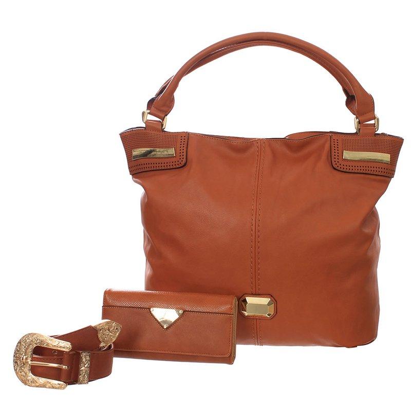 c0559b245 Kit Feminino 3 Em 1 Bolsa Hobo + Carteira + Cinto - Compre Agora - Feira da Madrugada  SP