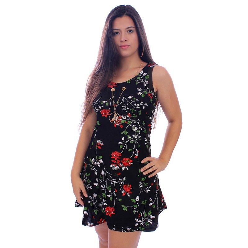 e74ce19e5 Vestido Rodado Floral Com Pingente Sem Manga- Compre Agora - Feira da  Madrugada SP