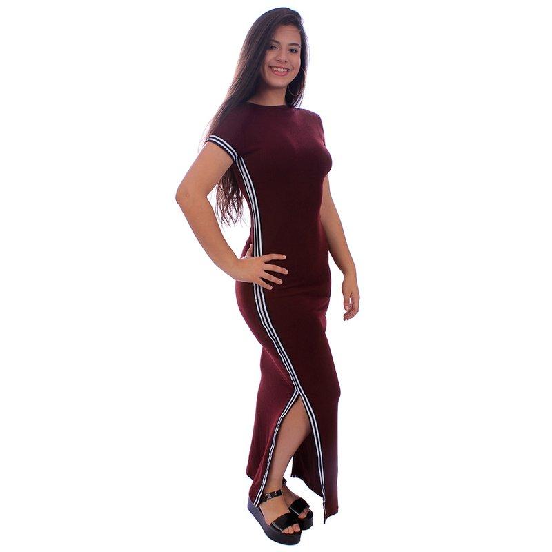 48bd0ca5a1 Vestido Longo Canelado Com Listra Lateral Manga Curta - Compre Agora - Feira  da Madrugada SP