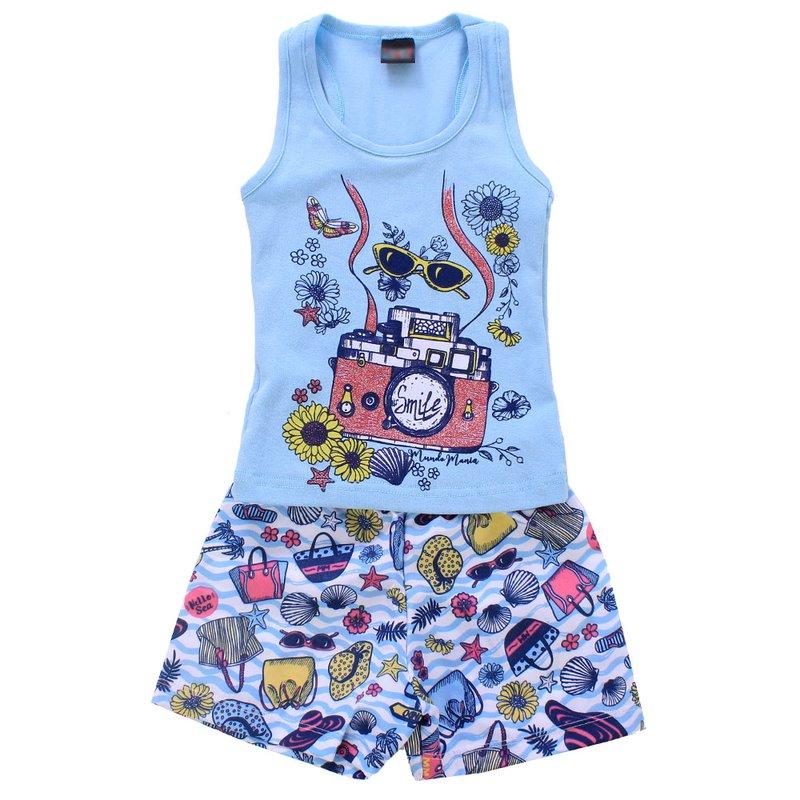 6ae67333a1bb7 Conjunto Infantil Feminino Regata + Short Estampado - Compre Agora - Feira  da Madrugada SP
