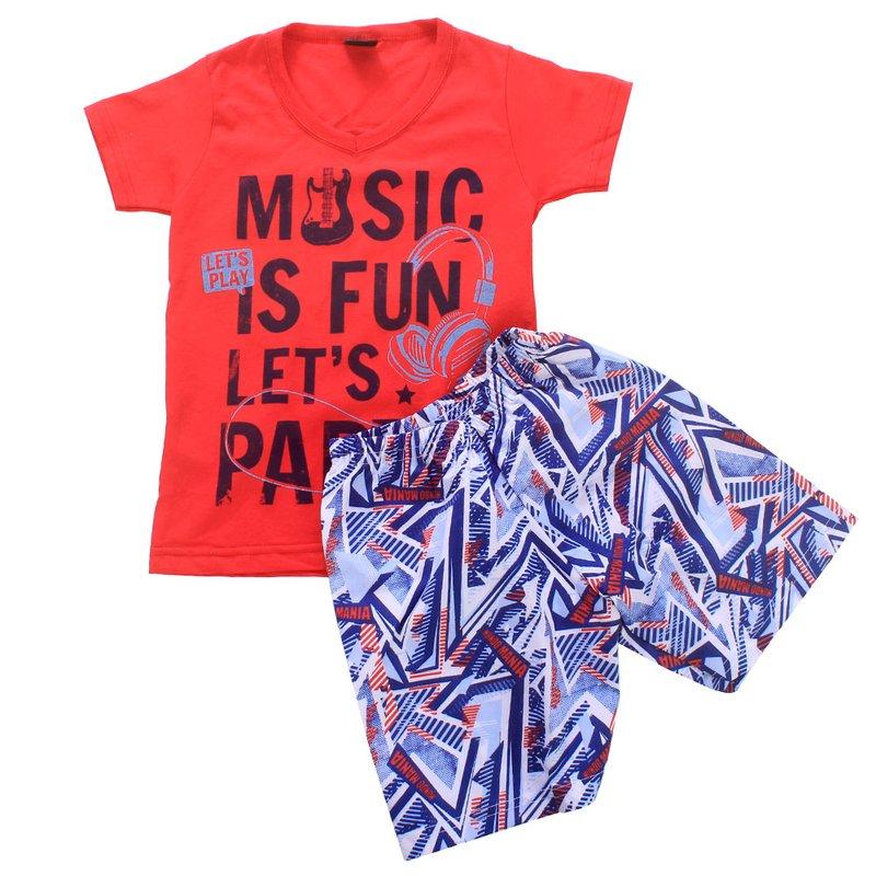 fa222c2e85 Conjunto Masculino Infantil Camiseta + Short Estampado - Compre ...