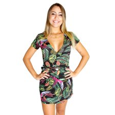 Vestido Curto Envelope Com Estampa Tropical