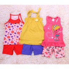 Kit 3 Conjuntinhos Estampados Regatas + Shorts  Infantis