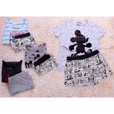 Kit 4 Conjuntos Blusas + Shorts Estampados