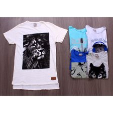Kit 5 Camisetas Masculinas Estampas Frontais Variadas