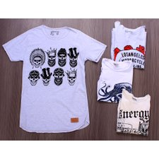 Kit 5 Camisetas Masculinas T-Shirt Estampas Frontais Variadas