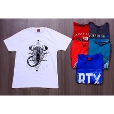 Kit 6 Camisetas Masculinas Estampas Frontais Variadas
