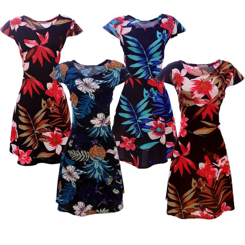 21c7f99cc9 Kit 4 Vestidos Curtos Rodados E Estampados Feminino - Compre Agora - Feira  da Madrugada SP