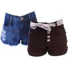 Kit Feminino Com 2 Short's Jeans Destroyed