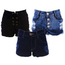 Kit 3 Short's Feminino Jeans Destroyed