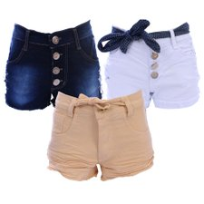 Kit Com 3 Short's Feminino Jeans Destroyed