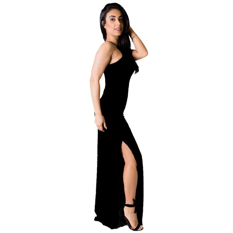 ed5bb3e935 Vestido Longo Frente Única Com Fenda Lateral - Compre Agora - Feira ...