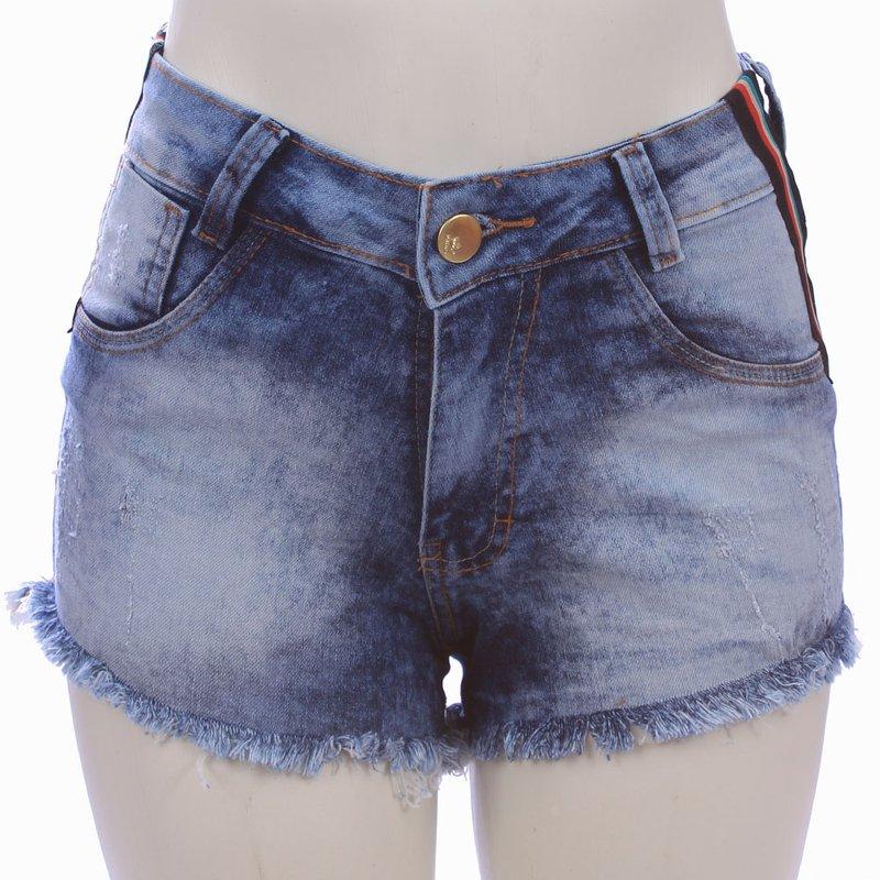 8240c5944 Short Jeans Cintura Alta Com Faixas Laterais - Compre Agora - Feira da Madrugada  SP