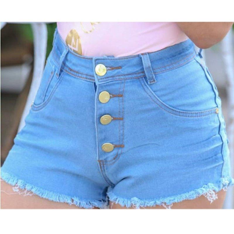 219a5ab437cbc7 Short Jeans Cintura Alta Com Botões - Compre Agora - Feira da ...