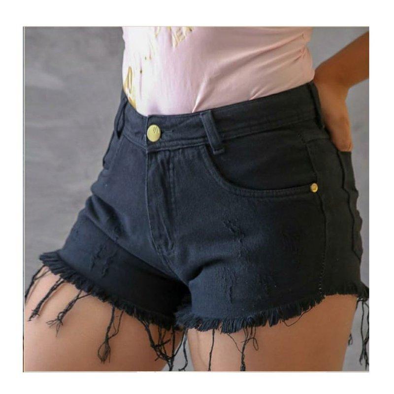 e2d34d1de613a2 Short Jeans Preto Com Barra Desfiada - Compre Agora - Feira da ...
