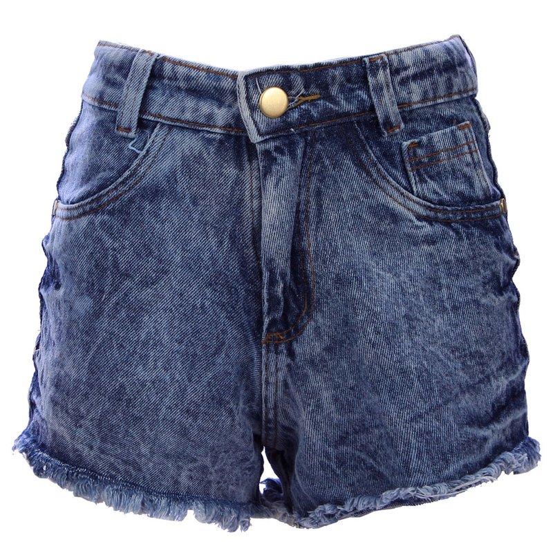 397e549f5 Short Jeans Feminino Hot Pants Manchado Cintura Alta - Compre Agora - Feira  da Madrugada SP