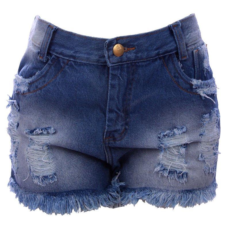 0017d05e5 Short Jeans Hot Pants Feminino Destroyed Cintura Alta - Compre Agora -  Feira da Madrugada SP