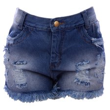 Short Jeans Hot Pants Feminino Destroyed Cintura Alta