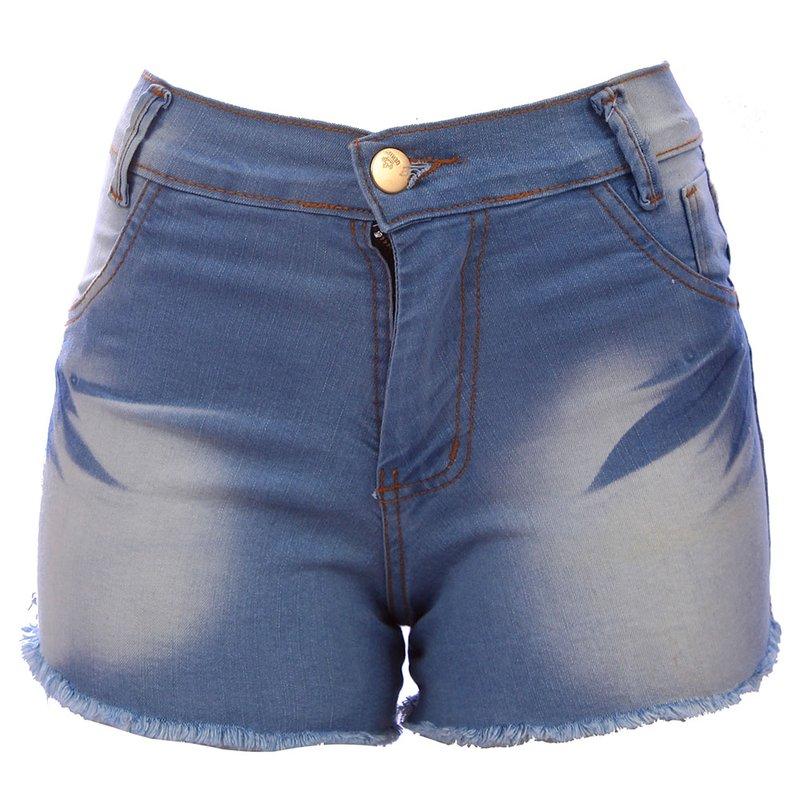 5a405da8d Short Jeans Hot Pants Feminino Manchado Cintura Alta - Compre Agora - Feira  da Madrugada SP