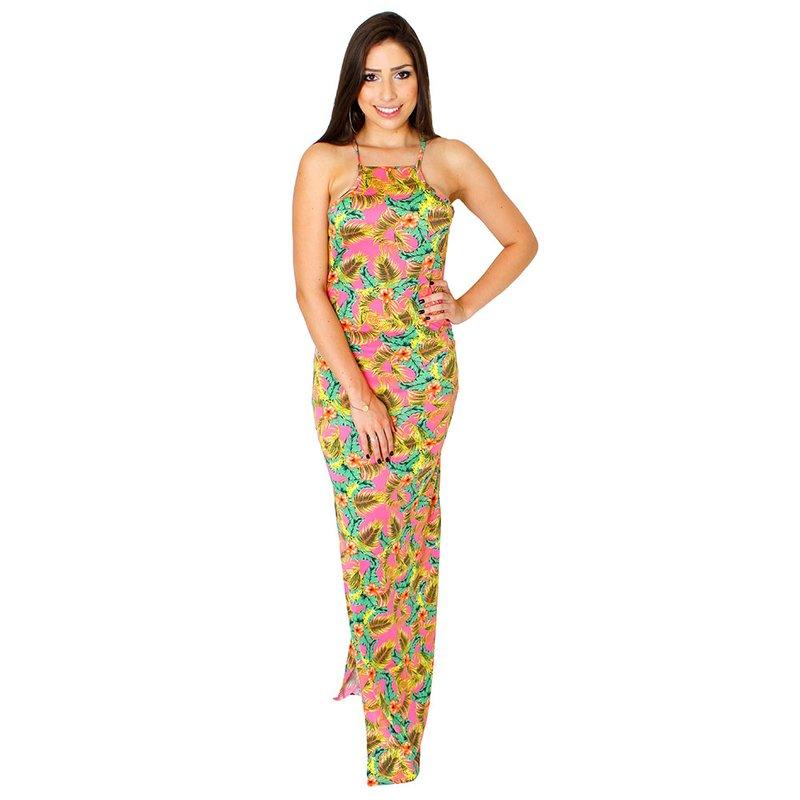 9b74202a4 Vestido Longo Frente Única Nadador Floral Com Fenda - Compre Agora - Feira  da Madrugada SP