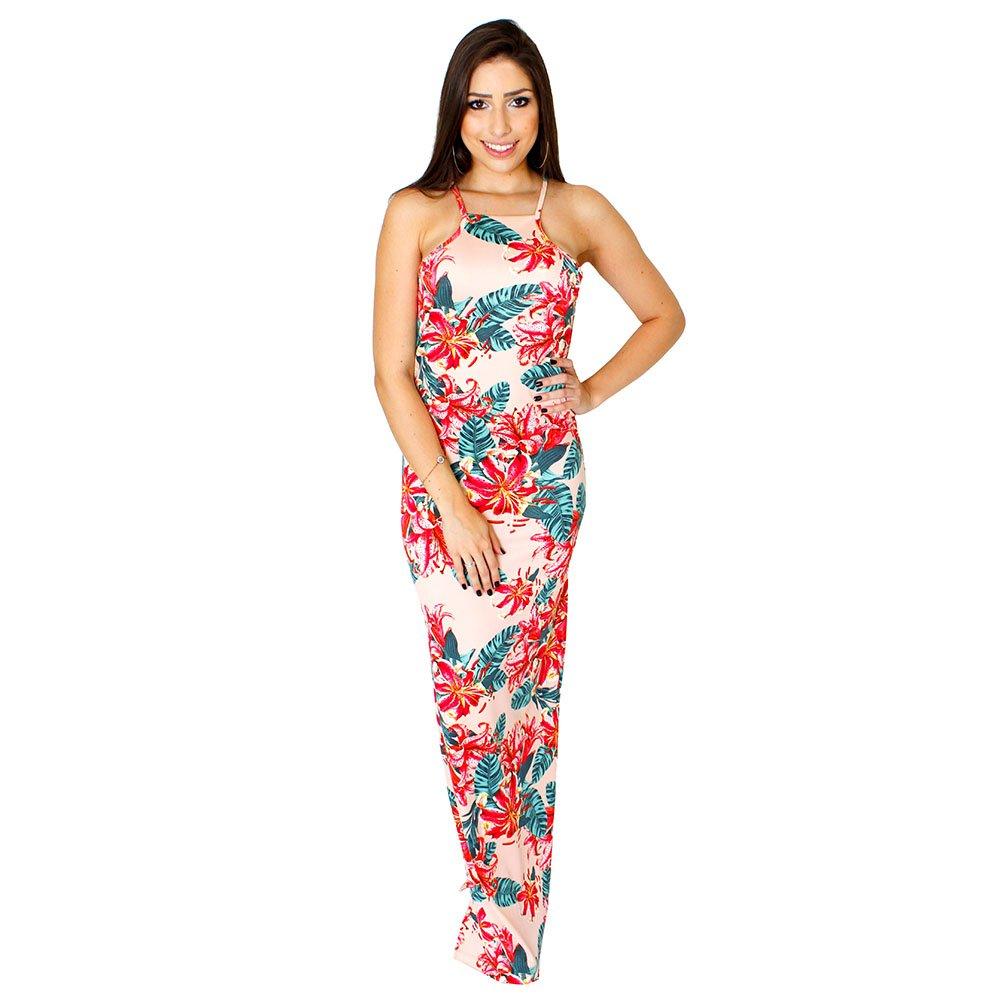 09d78f7f3b Vestido Longo Frente Única Nadador Floral Com Fenda - Compre Agora ...
