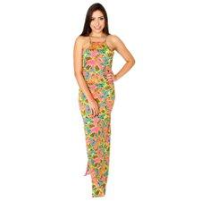 01c13ca962 Vestido Longo Frente Única Nadador Floral Com Fenda - Compre Agora - Feira  da Madrugada SP