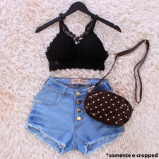 Cropped Top Rendado Com Alça Regulável