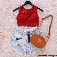 Cropped Top Strappy Trançado Rendado