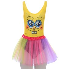 Kit Body Regatão Feminino Estampa Bob Esponja + Saia Colorida