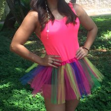 Kit Carnaval Body Neon Carnaval Regatinha + Saia Tutu Colorida