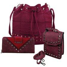 18e393b77 Kit Feminino Bolsa Saco+ Transversal + Carteira Spikes E Strass - Compre  Agora - Feira da Madrugada SP