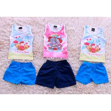 Kit Com 3 Camisetas Regatas + Shorts Infantil Estampas Diversas
