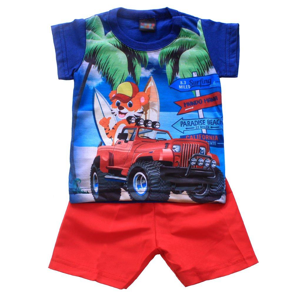 0ef39c4cb6502 Conjunto Infantil Camiseta + Short Tactel Estampado Masculino